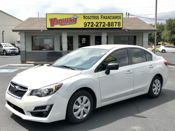 2015 Crystal White Silica /Black Subaru Impreza 2.0i PZEV CVT 4-Door (JF1GJAA63FH) with an 2.0L H4 DOHC 16V engine, Continuously Variable Transmission transmission, located at 7512 C F Hawn Fwy, Dallas, TX, 75217, (214) 391-9600, 32.719147, -96.691788 - Photo #0